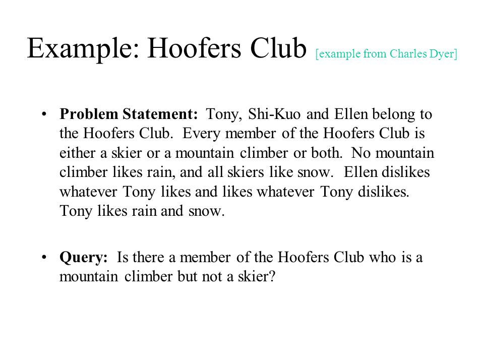 Example: Hoofers Club [example from Charles Dyer]